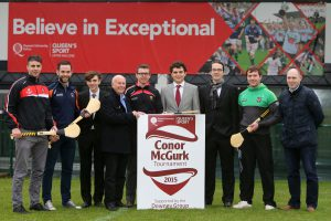 The McGurk Family launch the Inaugural Hurling competition at Queen's in memory of  Conor with Conor Woods (Down), Fegus Donnelly (Queen's), Liam og Hinphey (Derry) and Conor Clifford (Armagh). Foreground: Conor McGurk Junior and Henry Downey (Downey Group)