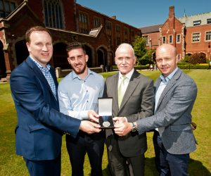 Pictured at the presentation of the 2016 Cormac McAnallen Medal at Queen's University are (l-r) Dónal McAnallen, Ryan Murray (recipient), James O'Kane (University Registrar) and Peter Canavan.