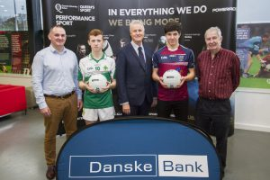 """Queen's University have announced the winners of the 2016 Danske Bank """"Future Stars"""" year twelve All Stars. Pictured at Upper Malone are Aidan O'Rourke (Queen's), Brendan McKay (St Malachy's Castlewellan), Mark Watson (Danske), Iarlaith Donaghy (St Pius X) and Sean McGourty (Ulster Schools)."""